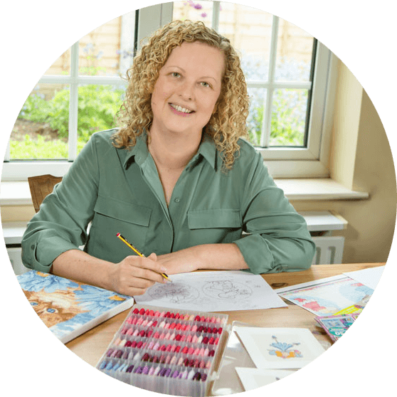 Lucie Heaton, founder of Lucie Heaton Cross Stitch Designs