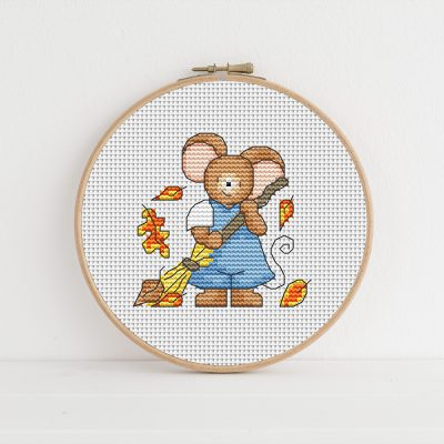 Furry Tales Sweeping Mouse Cross Stitch Pattern