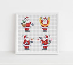 A collection of sweet santas, perfect for festive cross stitch cards and gifts