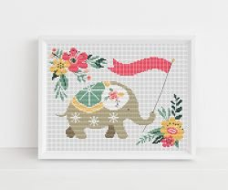 Floral Elephant Cross Stitch Pattern