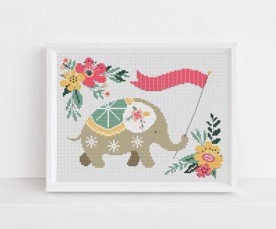 Floral Elephant Cross Stitch Pattern