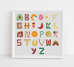 Food Alphabet Cross Stitch Pattern
