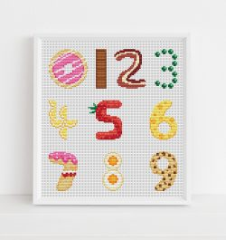 Food Numbers Cross Stitch Pattern