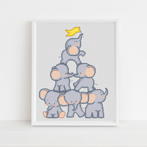 Elephant tower cross stitch pattern