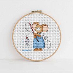 Furry Tales Fishing Mouse Cross Stitch Pattern