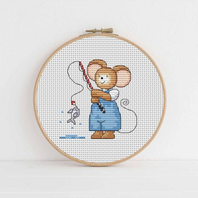 Furry Tales Fishing Mouse Cross Stitch Pattern