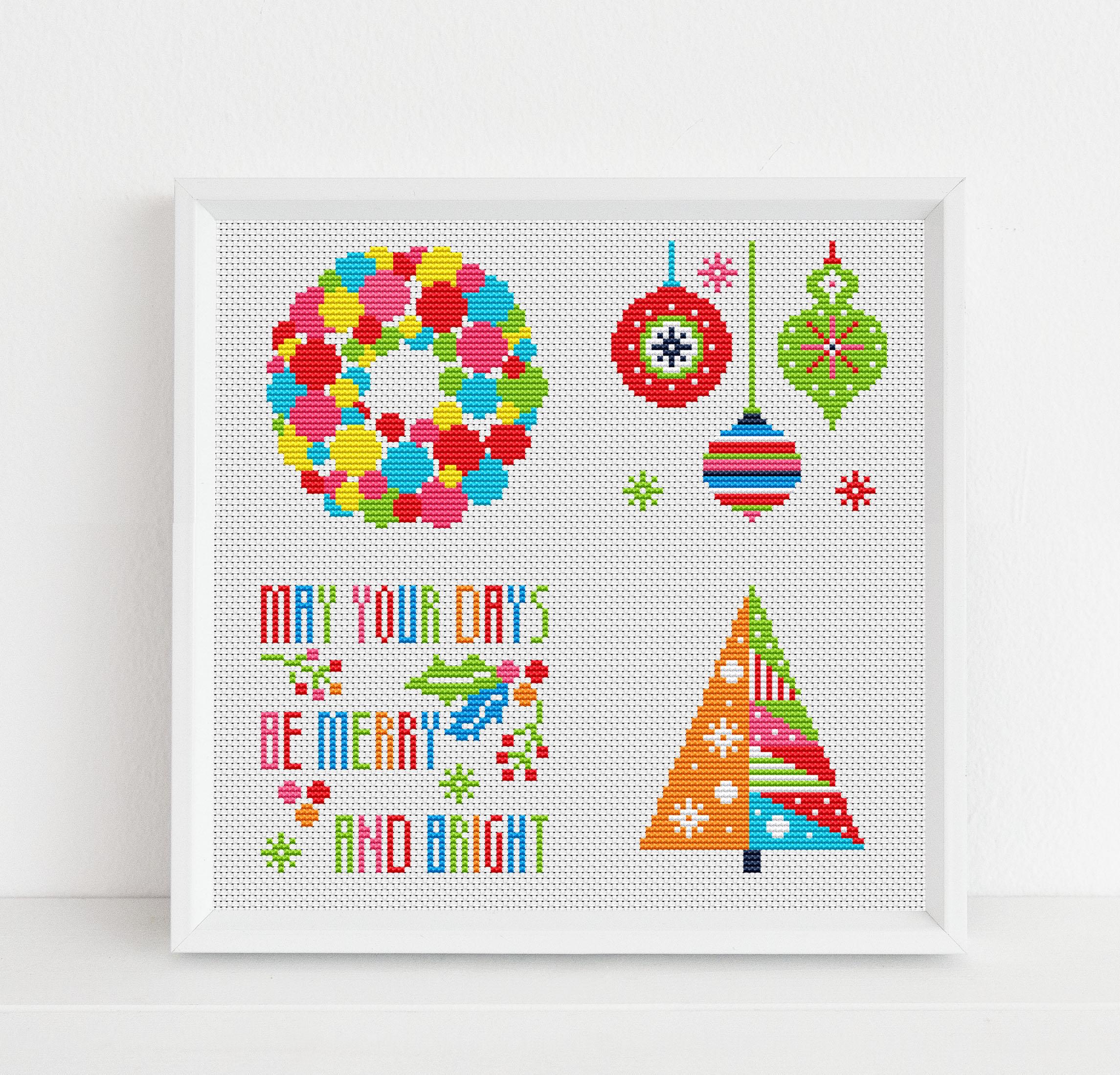 Christmas Card Design.Merry Bright Christmas Card Designs Cross Stitch Pattern