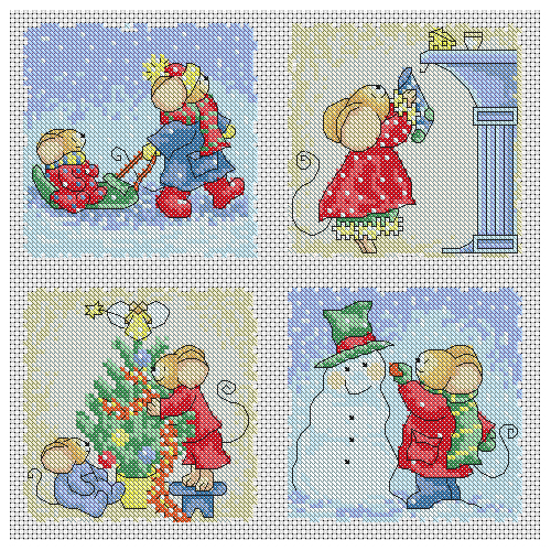 Furry Tales Christmas Cards Cross Stitch Pattern