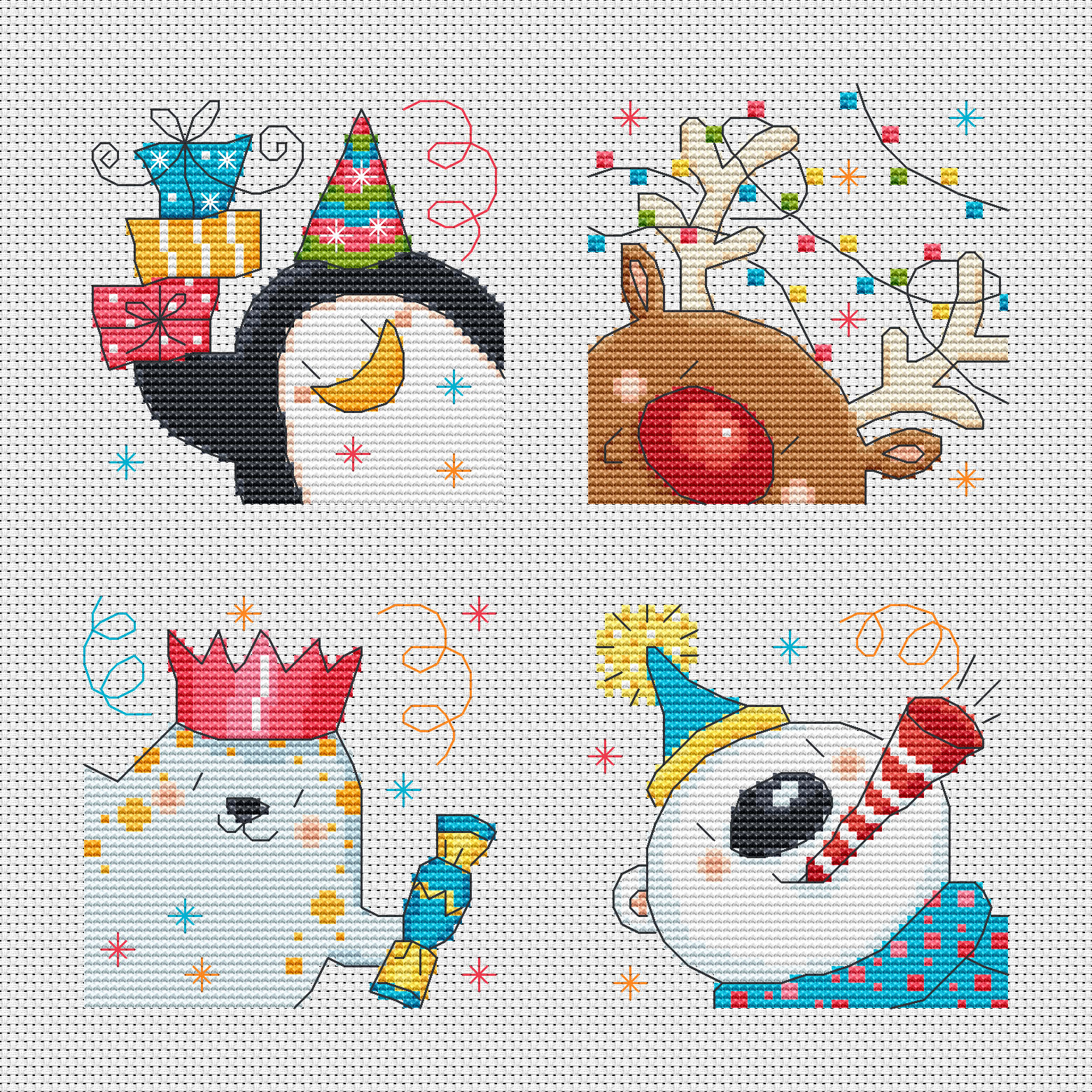Polar Pals Christmas Cards Cross Stitch Pattern