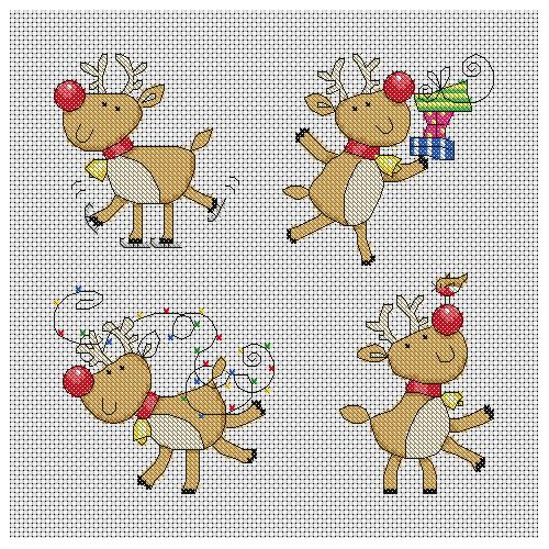 Cute Reindeer Christmas Cards Cross Stitch Pattern